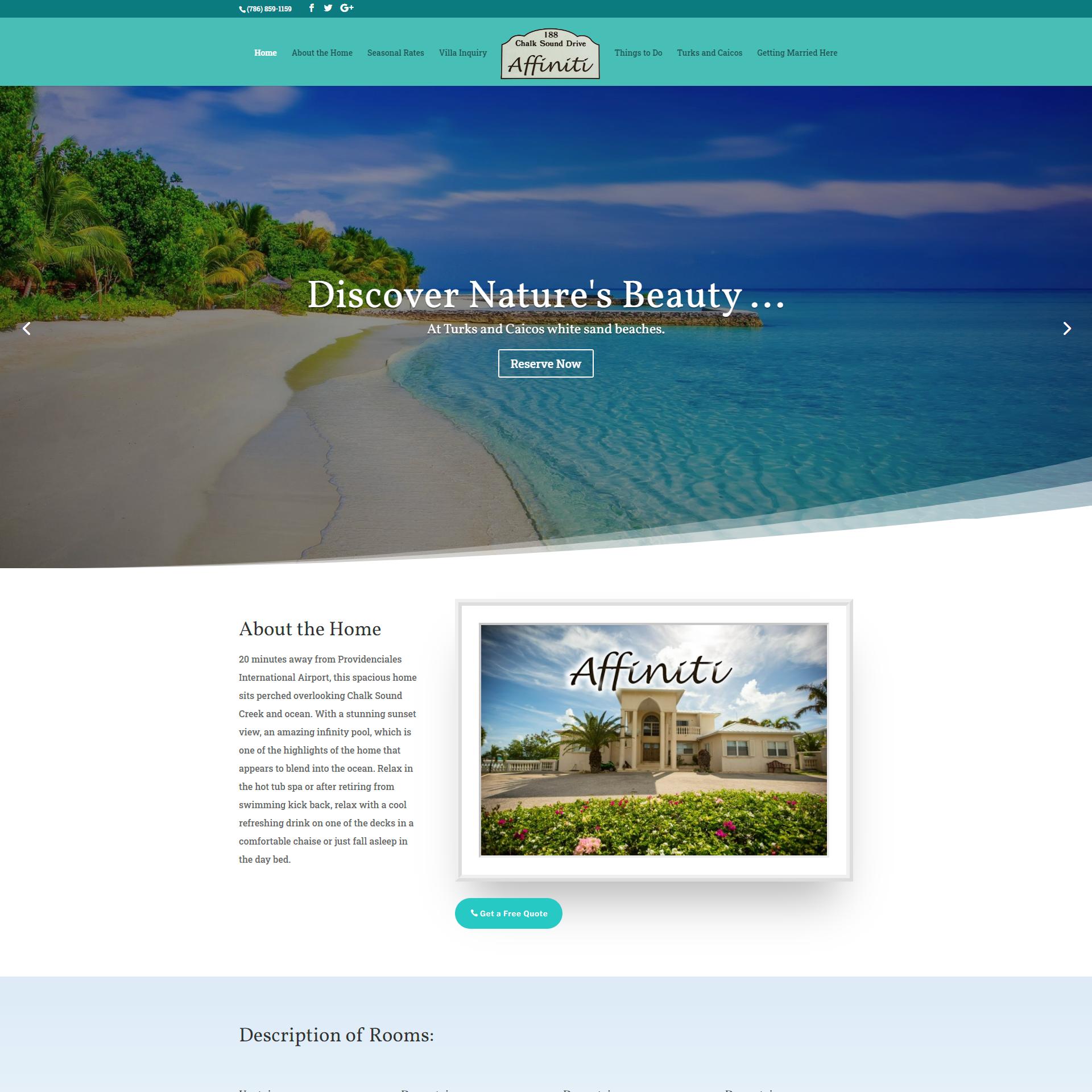 Villa Affiniti Turks and Caicos Website Design and Development